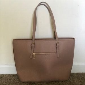 Cream Large Leather Tote